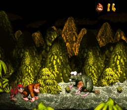 Konkey Kong and Diddy Kong fighting Very Gnawty.