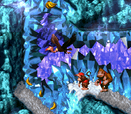 Donkey and Diddy in a Crystal Cavern with a Necky.