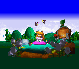 Princess Peach in Mario's front yard.