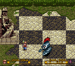 Fighting FootKnight on a chessboard field.