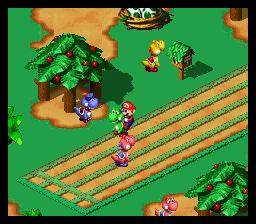 Mario on Yoshi ready for a Yoshi Race.